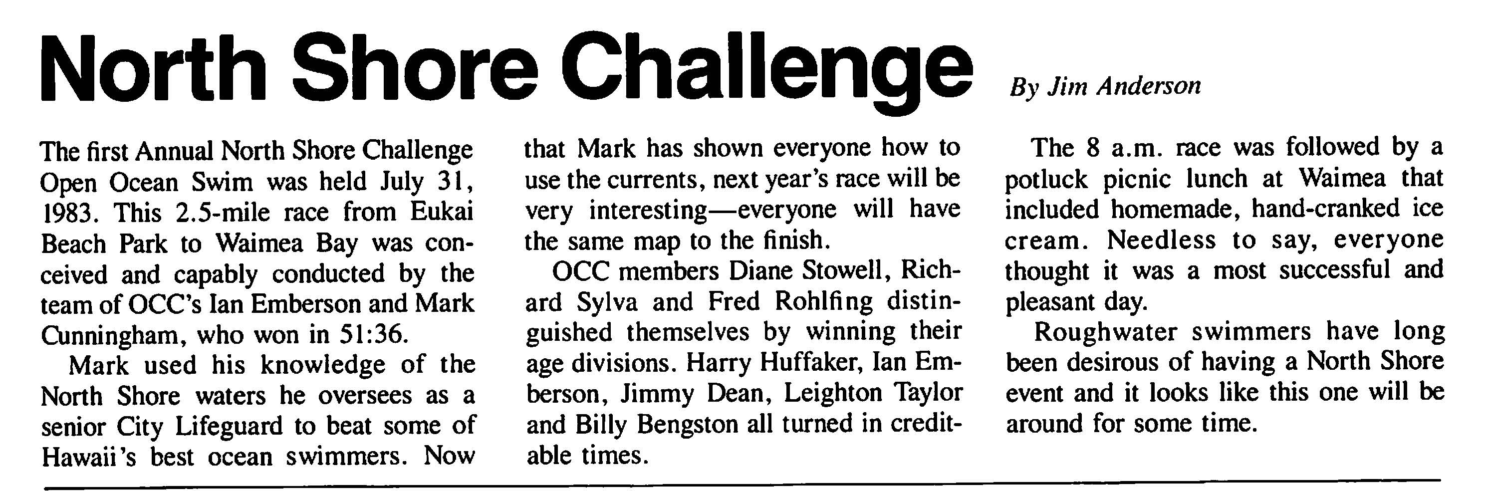 1983 North Shore Challenge review